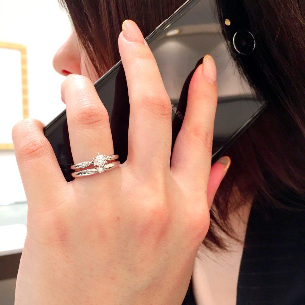 結婚指輪 婚約指輪 仙台 重ねづけ