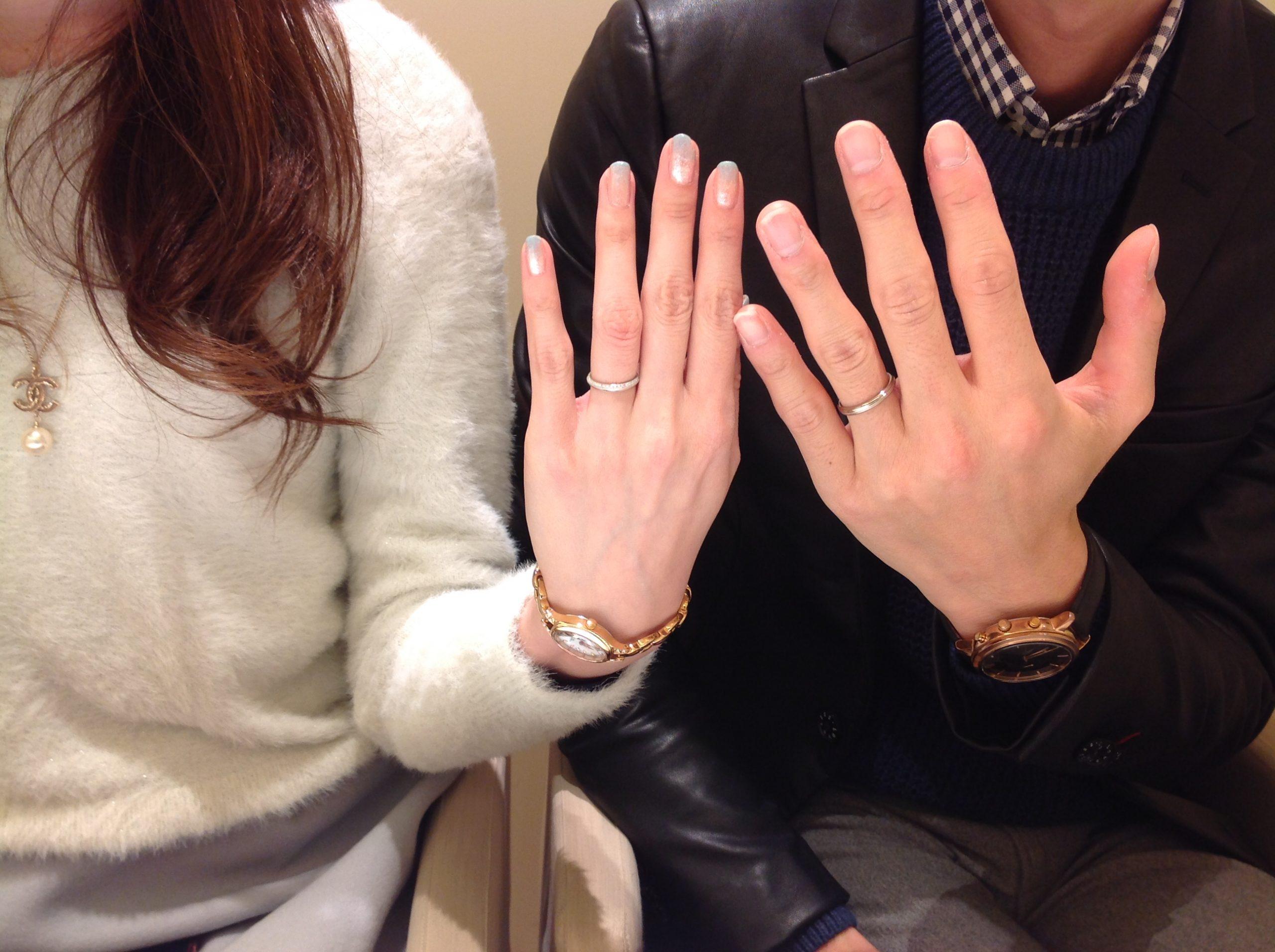 結婚指輪ブラックゴールドピンクダイヤ